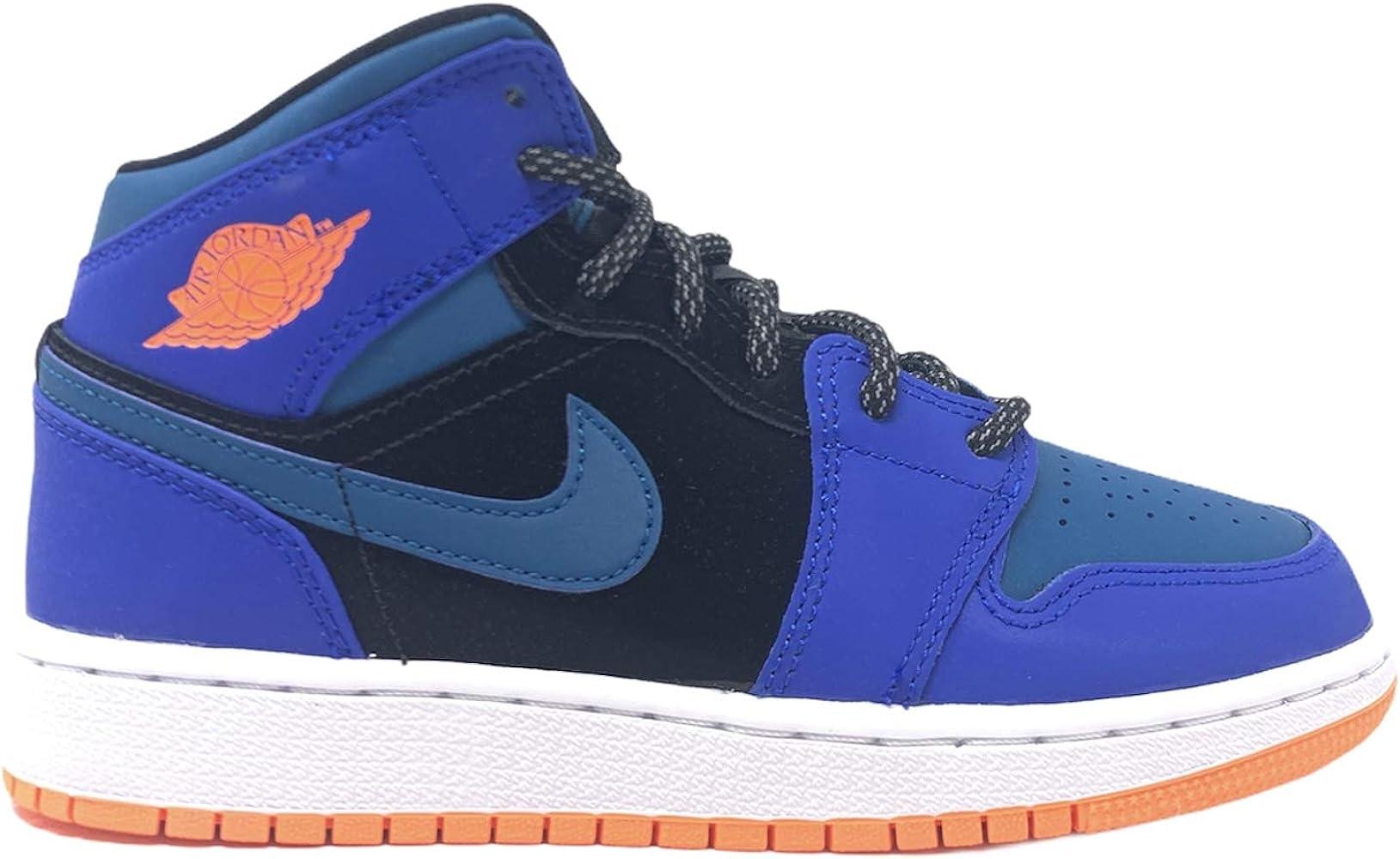 Amazon.com   Nike Jordan 1 Mid Grade School (GS) Blue Black Green ...