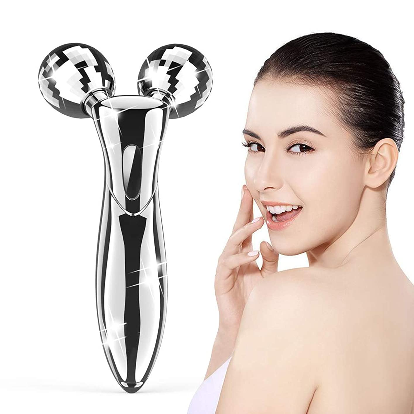 活気づくバンジョー離婚美容ローラー 美顔ローラー フェイスローラー 美顔器 V字型 マイクロカレント マッサージローラー 3D ボディーローラー 充電不要 ほうれい線改善 防水 ギフト