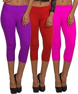 Fablab Women Three-Forth Capri_WesternWear_CottonLycra Capri_CLS_190-3-20PuRP,PurpleRedPink,Free Size Combo Pack of 3.