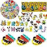 YAOJIN 24 Piezas Pokemon Monster Mini Figur, 12 Pokemon Pulsera de Silicona, 50 Piezas Pokémon Pegatinas,6 Piezas Pokémon Llavero Pokemon Pikachu Fiesta para Niños Decoraciones Suministros
