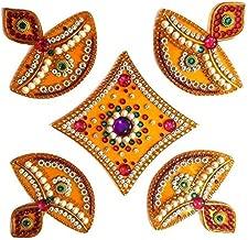 SS Craft Creations Handcrafted Decorative Diwali Rangoli Set – Multicolor Jewel Stone/Kundan Decorations on Yellow Acrylic Base – 5 Piece Set - for Home Décor