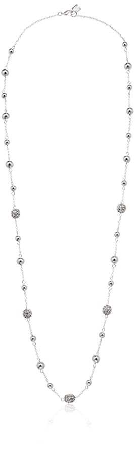 Chaps Women's Long 36Inch Fireball Illusion Strand Necklace, Silver