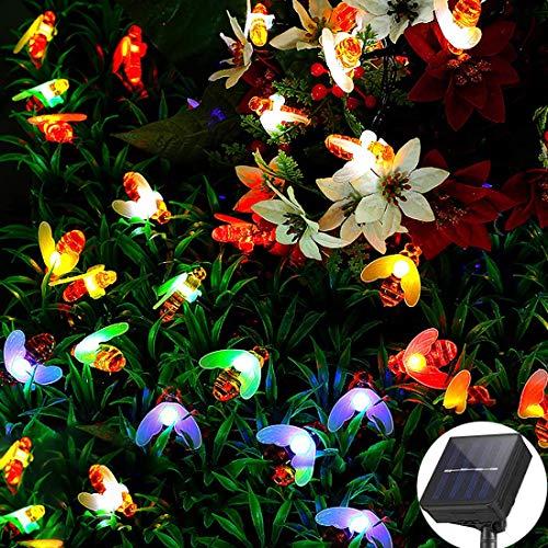 30 LED 6.5M Cadena Solar de Luces, IP65 Impermeable 8 Modos Luces Decorativas, Guirnalda Luces Exterior Luminosas para Exterior,Interior, Jardines, Casas, Boda, Fiesta de Navidad