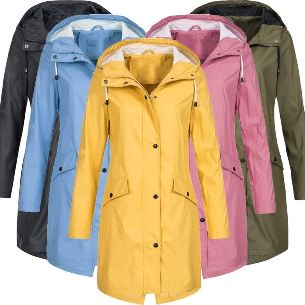 TOWAKM Wasserdichter Kapuzen Regenmantel Damen Solide Regenjacke Freien Winddichte Überzieher Multicolor Multicode Himmelblau-2