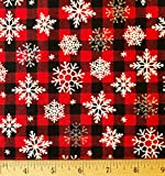 1 Yard - Snowflakes Tossed on Red & Black Checked Cotton Fabric (Great for Quilting, Sewing, Craft Projects, Throw Pillows & More) 1 Yard x 44'