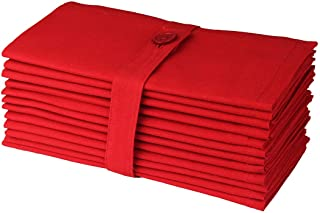 COTTON CRAFT - 12 Pack Oversized Christmas Red Dinner Napkins 18x18 Inches 100% Cotton, Tailored with Mitered Corners and ...