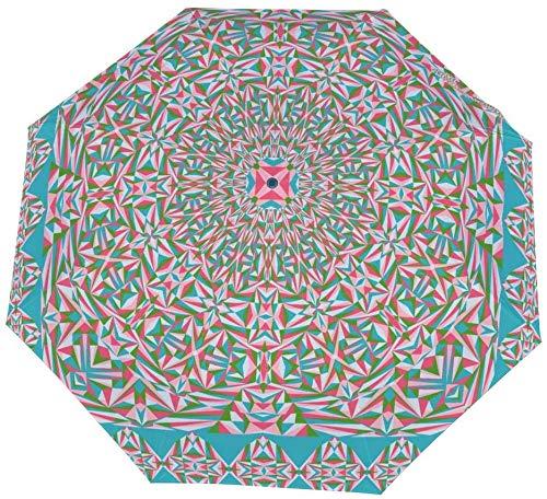 Paraguas manual de tres pliegues Colorido Mantón geométrico Patrón de bufanda Nano Apertura manual Paraguas cerrado de tres pliegues Protector solar que cubre el sol y la lluvia-Manual