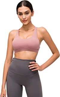 Women's Yoga Bras, Sexy Unique Cross Back Breathable Sports Bra for Gym Yoga,Pink,4