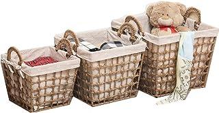 Panier de rangement 3 paniers de rangement tissés à la main avec doublure décorative poubelles de rangement for la maison ...