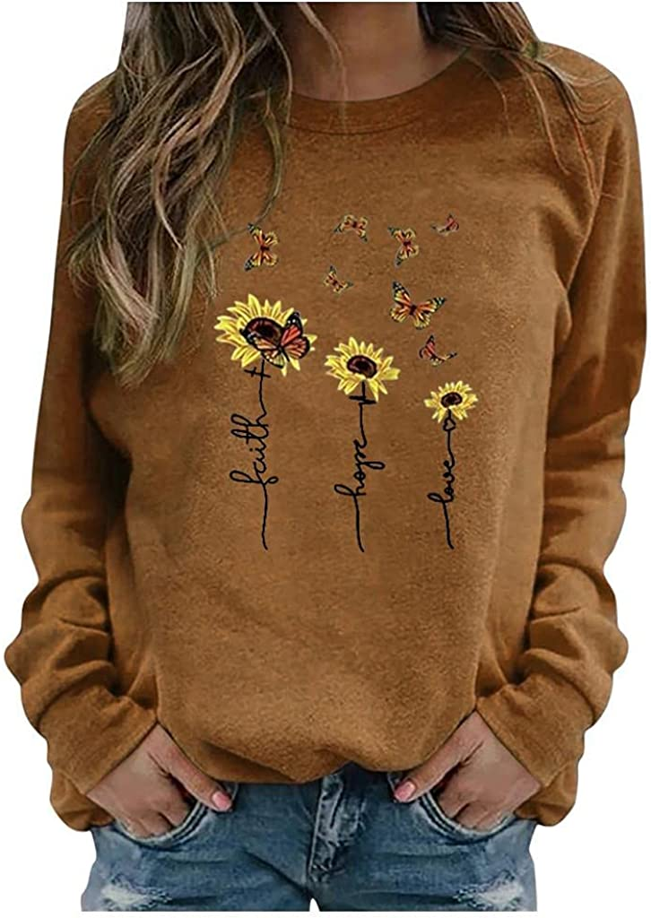 Hessimy Long Sleeve Shirts for Women,Womens Crewneck Flower Graphic Casual Loose Long Sleeve Tops Pullover Blouse Shirts