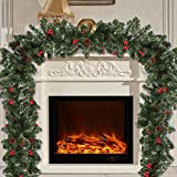 Surfmalleu 2.7 M Guirnaldas de Navidad Artificial con Pino Fruta Roja para Chimenea Puerta Pared Verde Corona Decoración Navideña Christmas Decoration (1)