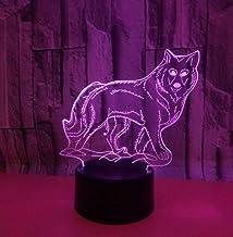 Animal Wolf SFALHX 3D Nachtlampje, Illusie Lamp voor Jongens, 16 Kleuren Dimbare USB Aangedreven Touch Control met Afstand...
