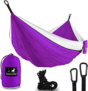 MalloMe Hammock Camping Portable Double Tree Hammocks - Outdoor Indoor 2 Person Beach Accessories – Backpacking Travel Equipment Kids Max 1000 lbs Breaking Capacity - Two Carabiners Free