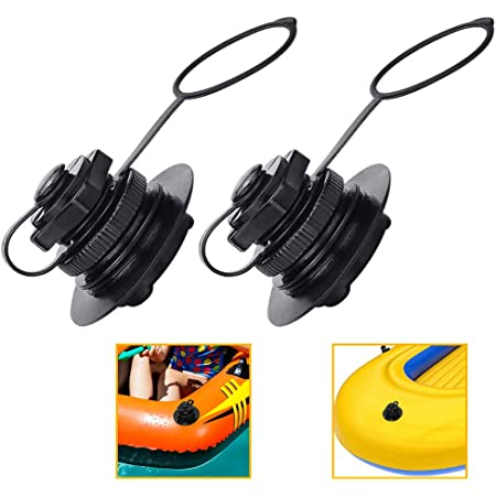 Black BESPORTBLE 8pcs Air Valve Inflatable Boat Spiral Air Plugs One-Way Inflation Replacement Screw Valve for Rubber Dinghy Raft Kayak Pool Boat Airbeds 22mm