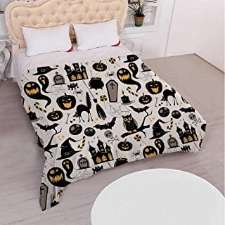 YOLIYANA Vintage Halloween Durable Flannel Blanket,Halloween Cartoon Jack o Lantern Tombstone Skulls and Bones Decorative for Bedroom,Full(59