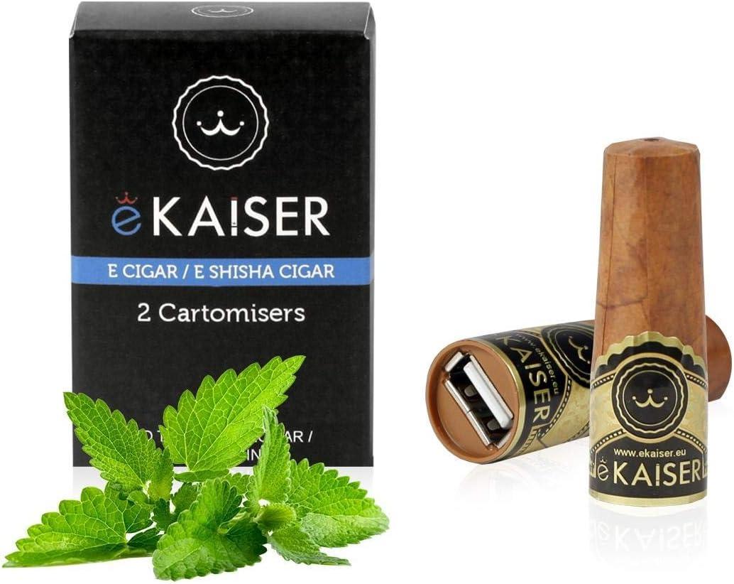 eKaiser cigarro electrónico paquete de 2 Cartomizer Sabor menta eCigar E shisha desechable Sabores 30/70 VG/PG libre de nicotina A700 bocanadas para eKaiser USB Recarga cigarro Nube Cazador de Vape