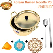Korea Ramen Noodles Pot Full SET, Yellow Pot + Scrubbing pad + Cooking Finger Protector Pinch Grips + Pot Mat + Spoon & Chopsticks
