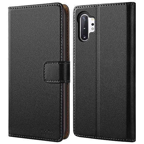 HOOMIL Handyhülle für Samsung Galaxy Note 10+ Plus Hülle, Premium PU Leder Flip Schutzhülle für Samsung Galaxy Note 10+ Plus Tasche, Schwarz