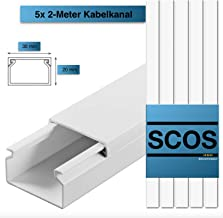 2m Kabelkanal 20x10mm Selbstklebend Weiß TV Wand Fussboden PVC Kabelleiste