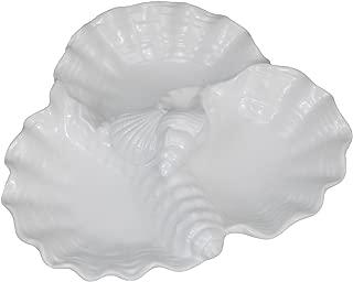 Drew Derose Triple Shell White Ceramic Appetizer Serving Dish