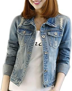 Boyfriend Denim Jacket for Women Oversized Long Sleeve Jean Jacket Loose Coats