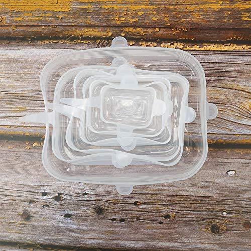 Yxing 6 Stück Silikon-Stretchdeckel Universaldeckel Silikonschale Topfdeckel Silikondeckel Pfanne Kochen Lebensmittel Frischer Deckel Mikrowellendeckel Plastikfolie-6 Stück Weiß