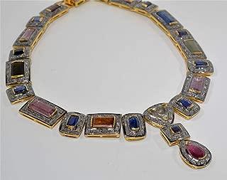 costozon uncut diamond necklace sets 54.5 Tcw ruby, topaz Rose Cut Diamond 925 Sterling Silver vintage jewelry