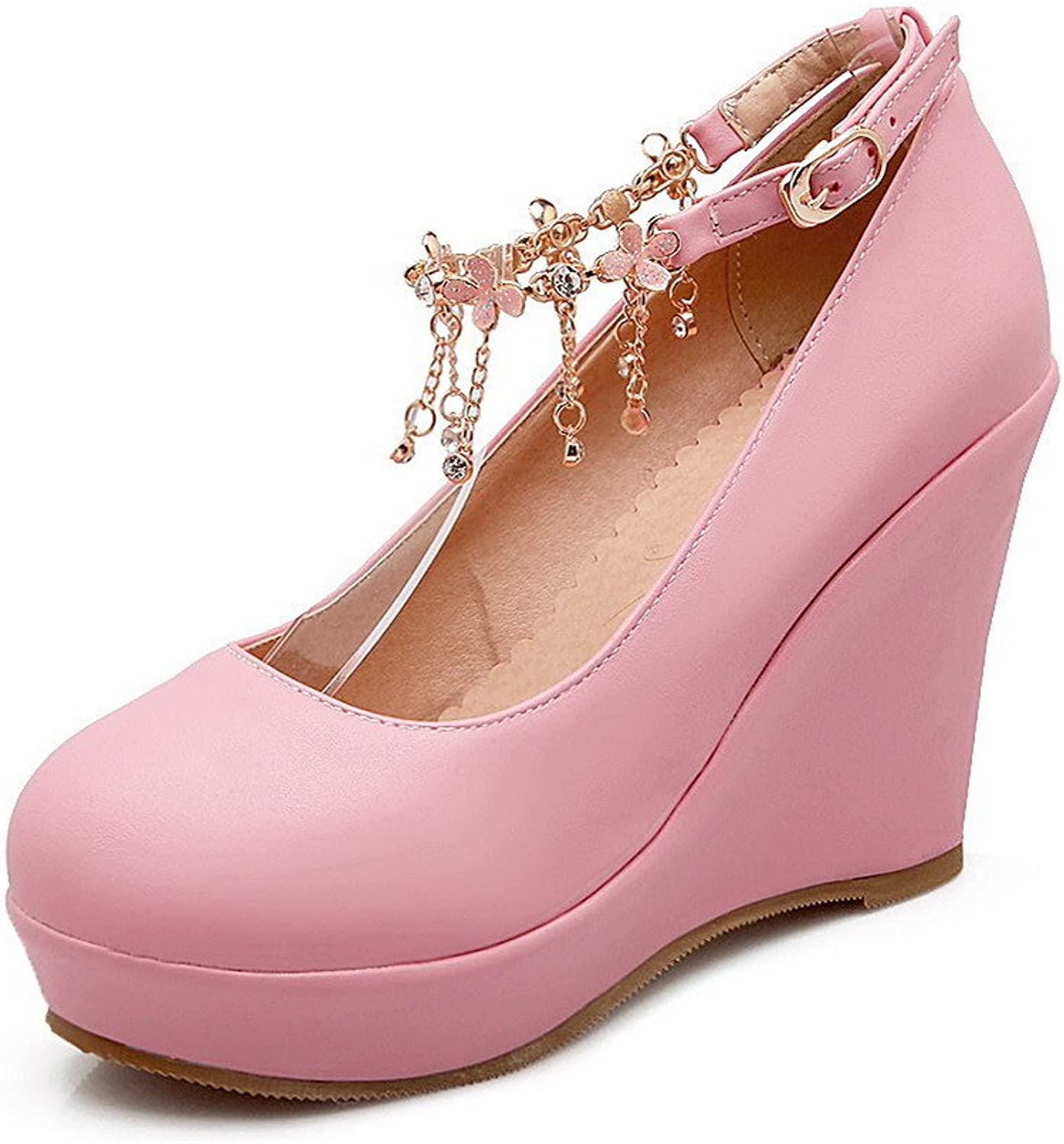 WeenFashion Women's Round Closed Toe Buckle PU Solid High-Heels Pumps-shoes