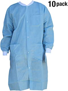 Premium Quality SMS Coat for Medical Professionals, Made of SMS Soft Fabric 3 Layer, Lab SMS Coat Static Free, Latex Free, Pack of 10, (Small, Ceil Blue)