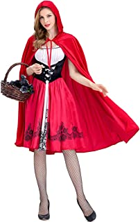 Women Little Red Riding Hood Halloween Costume Knee Length Skirt and Removable Hood Cape