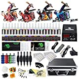 Beginner Complete Tattoo Kit 4 Machine Gun Power Supply Set Grip...