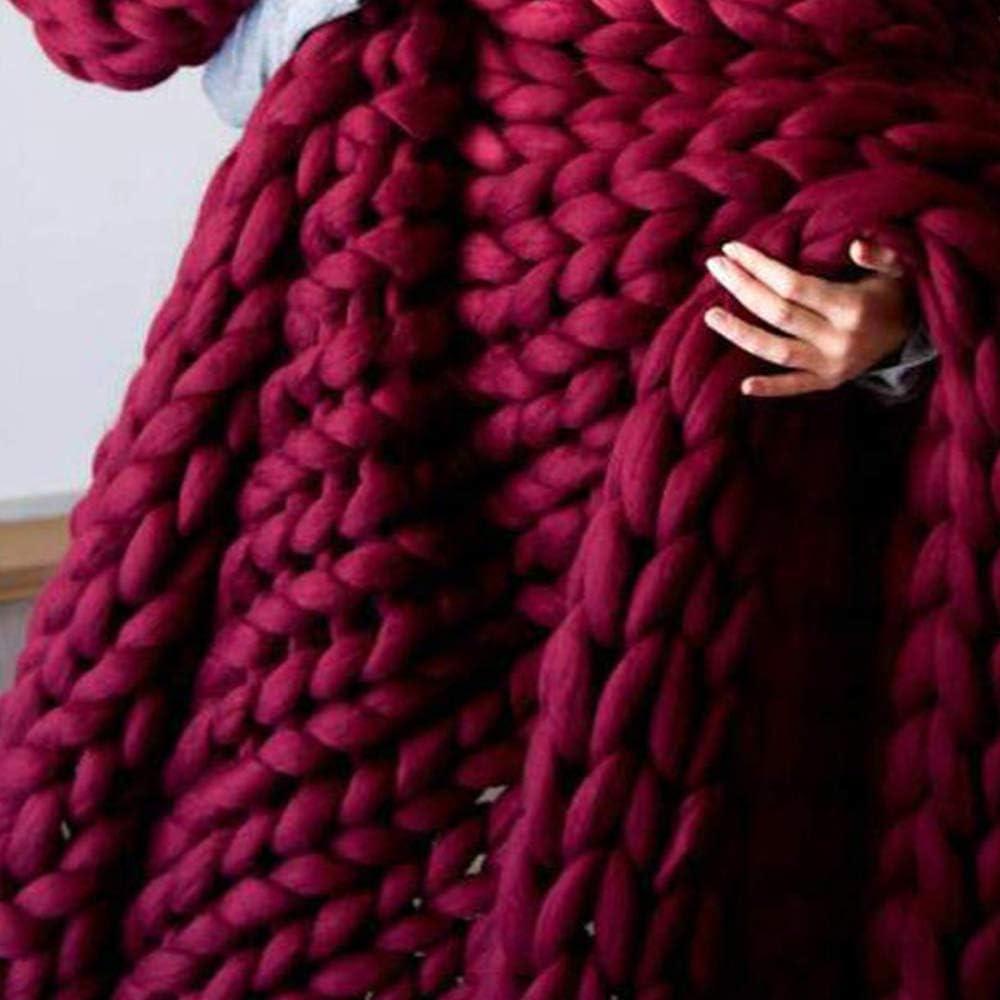 TRGCJGH Couverture Laine Tricoter,Couverture Tricotée à La Main à La Mode en Laine épaisse Laine Mérinos Laine Volumineuse à Tricoter Couverture,White-100 * 200cm Red-130*170cm