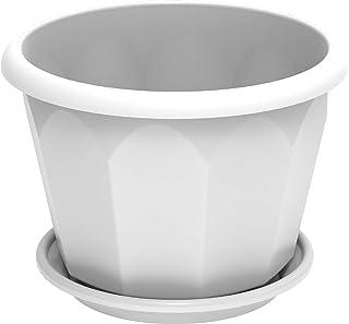 Cosmoplast Plastic Hexagonal Flowerpot 20 With Tray - White, HEX 20, IFFP20044WH
