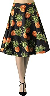 Fancyqube Women's Vintage Pleated A-line Floral Avocado Unicorn Sloth Midi Skirt