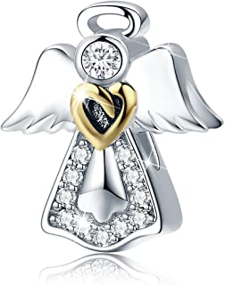 925 Sterling Silver Feathers Angel Wing Heart Shape Charm Bead Fit Bracelet Necklace