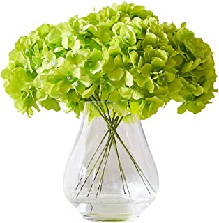 Kislohum Artificial Hydrangea Flower Heads Hydrangea Silk Flowers Head for Wedding Centerpieces Bouquets DIY Floral Decor Home Decoration,Pack of 10 with Log Stems -Color (Green)