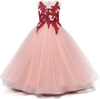 Vestido de princesa de las niñas Niñas vestidos de algodón for un partido de la princesa de la falda de las faldas del bor...