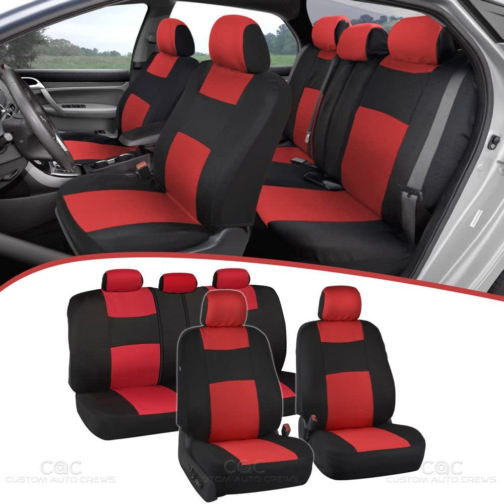BDK PolyPro Car Seat Covers Full Set in Red on Black – Front and Rear Split Bench Protection, Easy to Install, Universal Fit for Auto Truck Van SUV