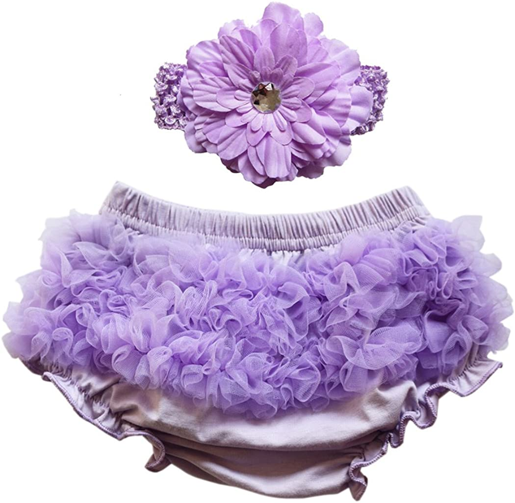 Wennikids Baby Girls Chiffon Bloomers Diaper Cover and Headband Set