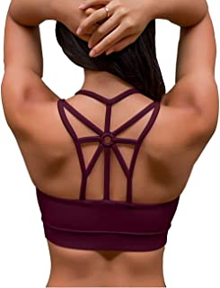 IMUZYN Sports Bras for Women Medium Support Strappy Back Padded Bralette Activewear Workout Fitness Running Yoga Tops