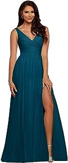 Slit Bridesmaid Dresses Long V Neck Chiffon Pleated Evening Prom Dress