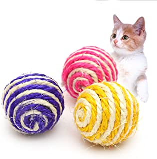 Pets Cats Toy Sisal Ball Kitten Teaser Playing Chew Scratch Pet Toys Diameter 5cm Color Random