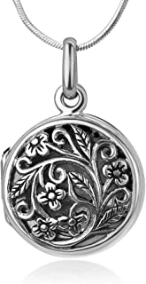 "925 Oxidized Sterling Silver Open Filigree Vintage Flower Vine Round Locket Pendant Necklace, 18"""