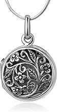 "Chuvora 925 Oxidized Sterling Silver Open Filigree Vintage Flower Vine Round Locket Pendant Necklace, 18"""