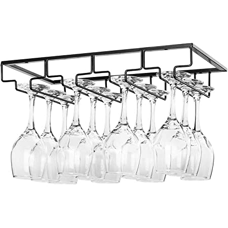 Wine Glass Rack Under the Cabinet 3 Rows Glass Holder for Cabinet Kitchen Bar Wine Glass Hanger Rack Wire Wine Glass Holder Storage Hanger for Cabinet Kitchen Bar 3 Rows 1 Pack