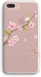 iPhone 8 Plus Case, iPhone 7 Plus Case,Sakura Flowers Girly Pink Cute Cherry Blossom Rose Florals Japanese Collection Exotic Clear Protective Spring Case for Girls for iPhone 7 Plus/iPhone 8 Plus