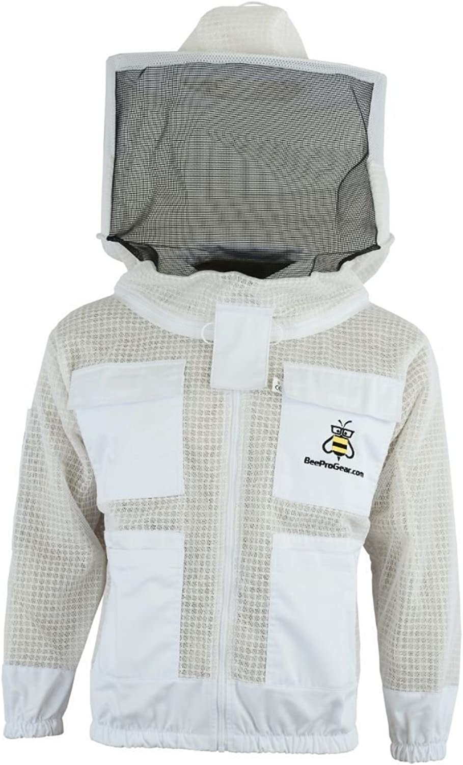 Bee Safety 3 Layer Safety Unisex White Fabric Mesh Beekeeping Jacket Beekeeping Round Veil Predective Clothing Beekeeping Clothing Beekeeping Predective Clothing Ventilated Bee