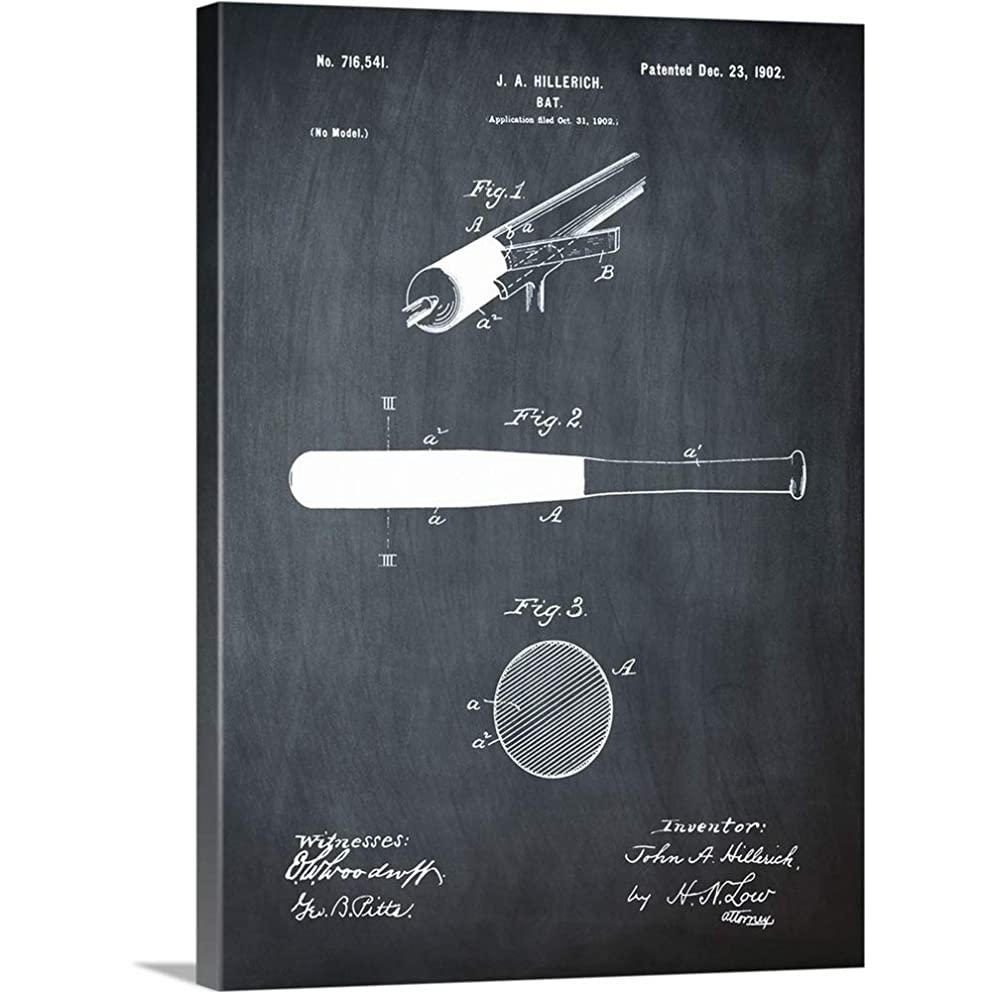 GREATBIGCANVAS Gallery-Wrapped Canvas Entitled Bat, 1902 - Black by Bill Cannon 30