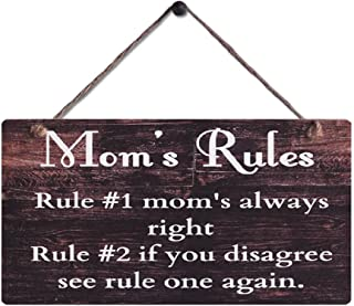 Rustic Wood Sign Wall Hanging Plaque Vintage Style Mom's Rules Motto Sign Size 11.5