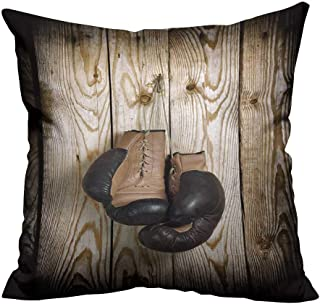 YouXianHome Home DecorCushion Covers Brown Old Boxing Gloves with a lace Over Old Wooden Wall Comfortable and Breathable(Double-Sided Printing) 24x24 inch